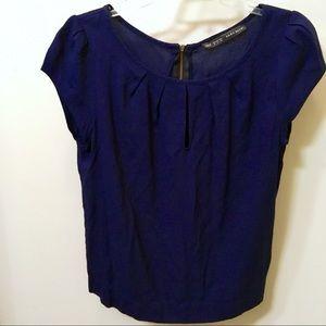 Zara Basic SS Navy Blue Blouse Zip-Up Back (M)